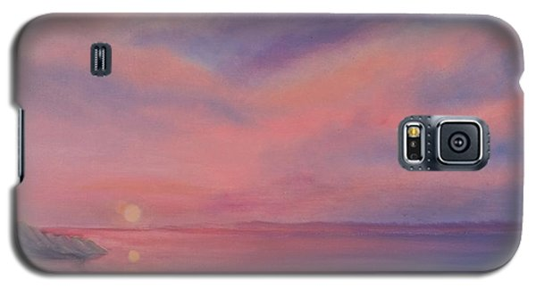 Galaxy S5 Case featuring the painting Cotton Candy Sky by Holly Martinson