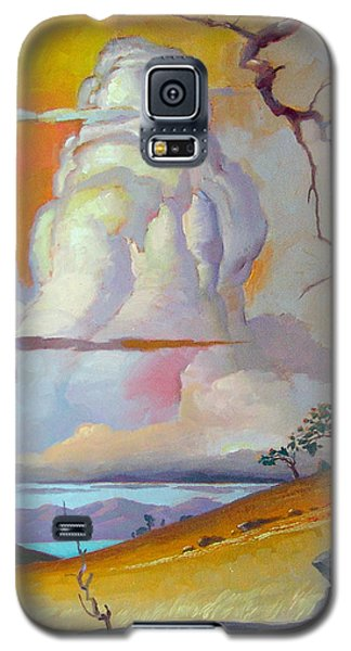 Galaxy S5 Case featuring the painting Cottonwood Clouds 3 by John Norman Stewart