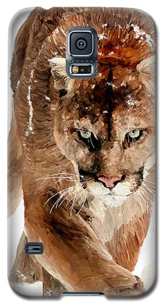 Galaxy S5 Case featuring the painting Cougar In The Snow by James Shepherd