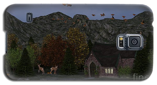 Galaxy S5 Case featuring the digital art Country Church Autumn At Twilight by Methune Hively