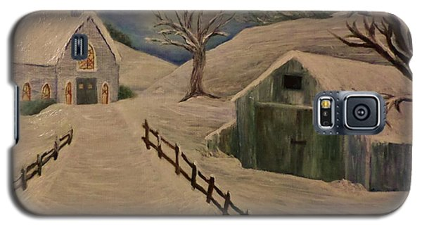 Country Church In The Snow Galaxy S5 Case by Christy Saunders Church