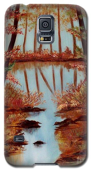 Galaxy S5 Case featuring the painting Country Reflections by Leslie Allen