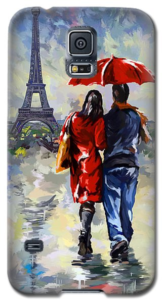 couple walking in the rain Paris Galaxy S5 Case by Tim Gilliland