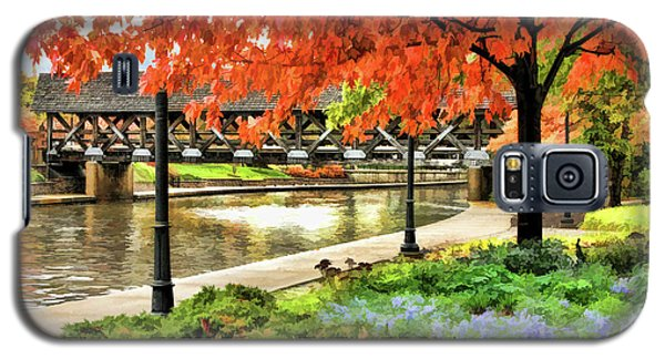 Galaxy S5 Case featuring the painting Covered Bridge Along Riverwalk by Christopher Arndt
