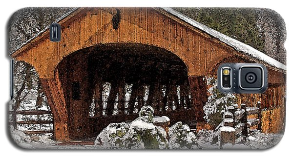 Covered Bridge At Olmsted Falls-winter-2 Galaxy S5 Case