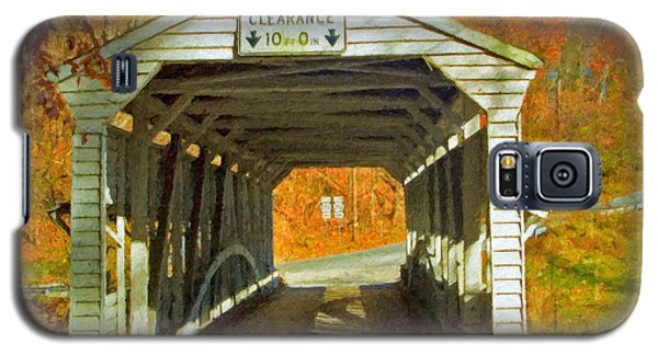 Galaxy S5 Case featuring the photograph Covered Bridge Impasto Oil by David Zanzinger