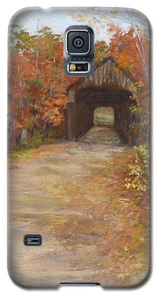 Galaxy S5 Case featuring the painting Covered Bridge  Southern Nh by Jack Skinner