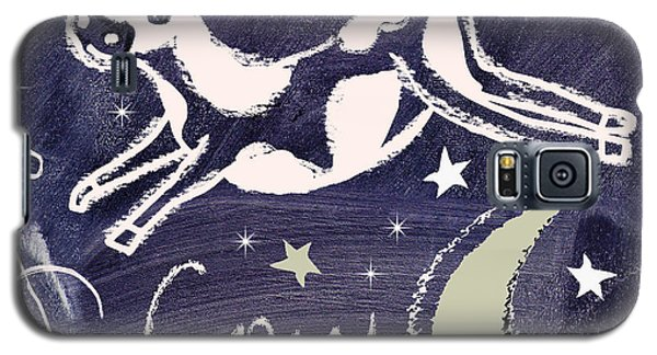 Cow Galaxy S5 Case - Cow Jumped Over The Moon Chalkboard Art by Mindy Sommers