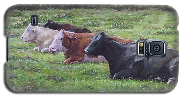 Galaxy S5 Case featuring the painting Cow Line Up In Field by Martin Davey