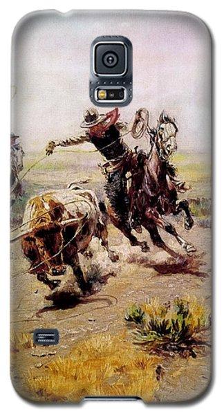 Cowboy Roping A Steer Galaxy S5 Case