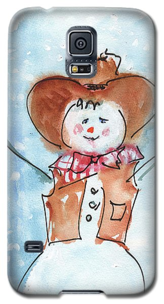 Cowboy Snowman Watercolor Painting By Kmcelwaine Galaxy S5 Case