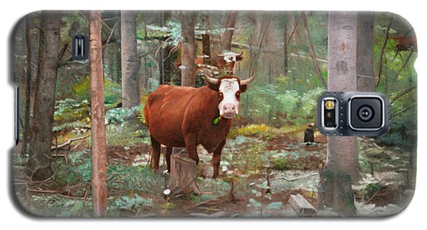 Galaxy S5 Case featuring the painting Cows In The Woods by Joshua Martin
