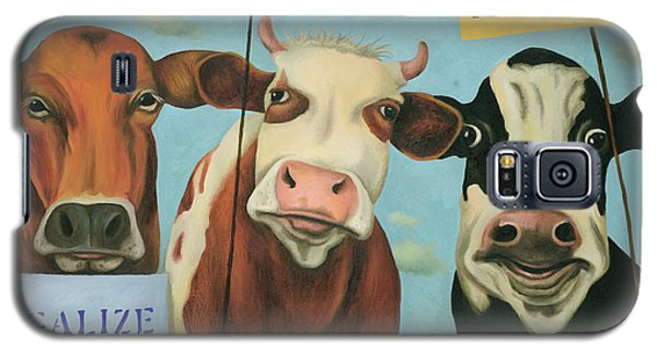 Galaxy S5 Case featuring the painting Cows On Strike by Leah Saulnier The Painting Maniac