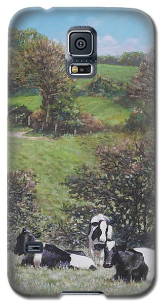Galaxy S5 Case featuring the painting Cows Sitting By Hill Relaxing by Martin Davey