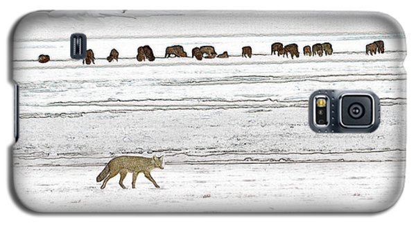 Galaxy S5 Case featuring the digital art Coyote And Bison by Kae Cheatham