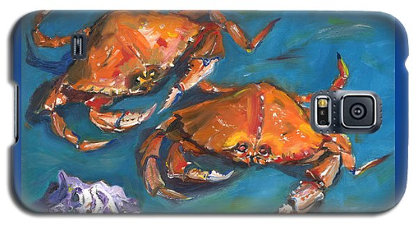 Galaxy S5 Case featuring the painting Crabs by Susan Thomas
