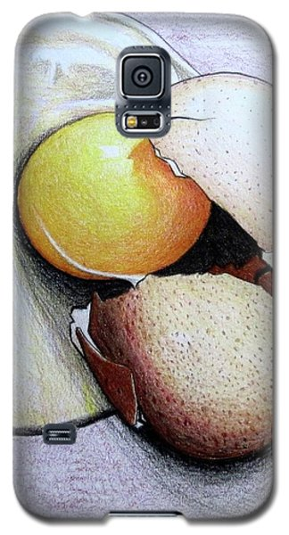 Galaxy S5 Case featuring the drawing Cracked Egg by Mary Ellen Frazee