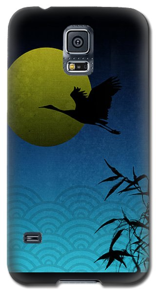 Galaxy S5 Case featuring the digital art Crane And Yellow Moon by Christina Lihani