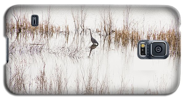 Galaxy S5 Case featuring the photograph Crane In Reeds by Laura Pratt
