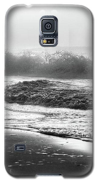 Galaxy S5 Case featuring the photograph Crashing Wave At Beach Black And White  by John McGraw
