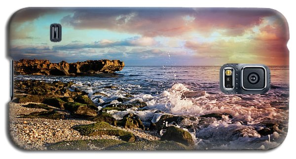 Galaxy S5 Case featuring the photograph Crashing Waves At Low Tide by Debra and Dave Vanderlaan