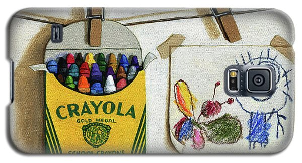 Galaxy S5 Case featuring the painting Crayola Crayons And Drawing Realistic Still Life Painting by Linda Apple