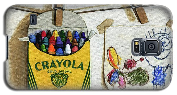Box Of Crayons And Child's Drawing Realistic Still Life Painting Galaxy S5 Case
