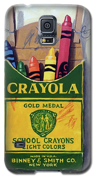 Galaxy S5 Case featuring the painting Crayola Crayons Painting by Linda Apple