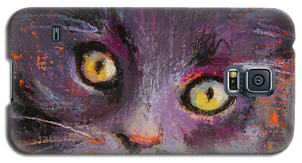 Crazy Cat Black Kitty Galaxy S5 Case