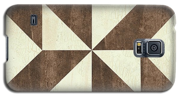 Galaxy S5 Case featuring the painting Cream And Brown Quilt by Debbie DeWitt