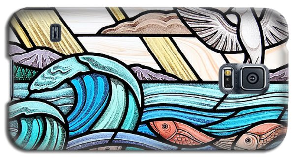 Galaxy S5 Case featuring the glass art Creation Of The Sea And Sky by Gilroy Stained Glass