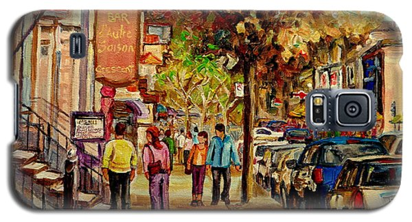 Galaxy S5 Case featuring the painting Crescent Street Montreal by Carole Spandau
