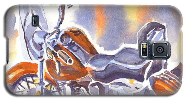 Crimson Motorcycle In Watercolor Galaxy S5 Case