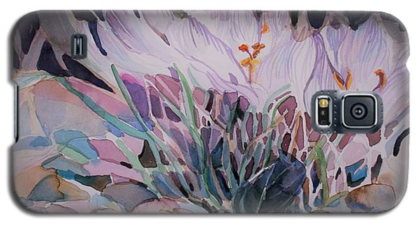 Galaxy S5 Case featuring the painting Crocuses by Mindy Newman
