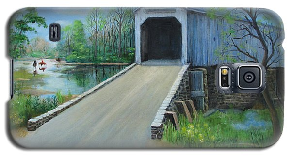 Galaxy S5 Case featuring the painting Crossing At The Covered Bridge by Oz Freedgood