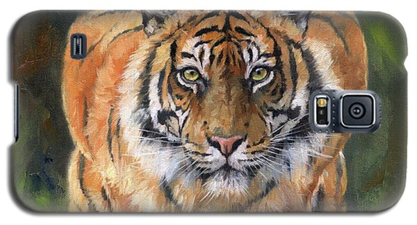 Galaxy S5 Case featuring the painting Crouching Tiger by David Stribbling