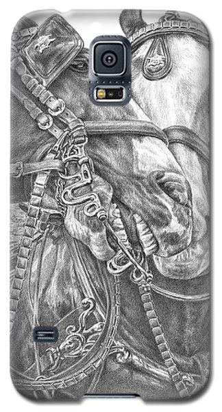 Galaxy S5 Case featuring the drawing Crowd Pleasers - Clydesdale Draft Horse Art Print by Kelli Swan