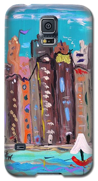 Galaxy S5 Case featuring the painting Crowded By The Sea by Mary Carol Williams