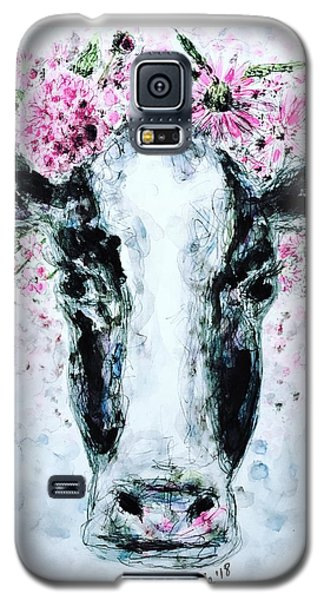 Crown Of Flowers Cow Galaxy S5 Case