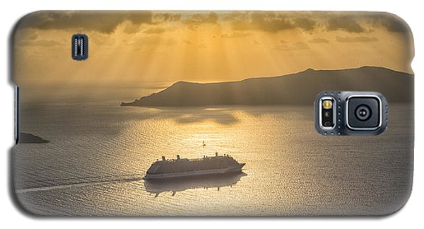 Galaxy S5 Case featuring the tapestry - textile Cruise Ship In Greece by Kathy Adams Clark