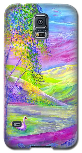 Galaxy S5 Case featuring the painting Crystal Pond, Silver Birch Tree And Swan by Jane Small