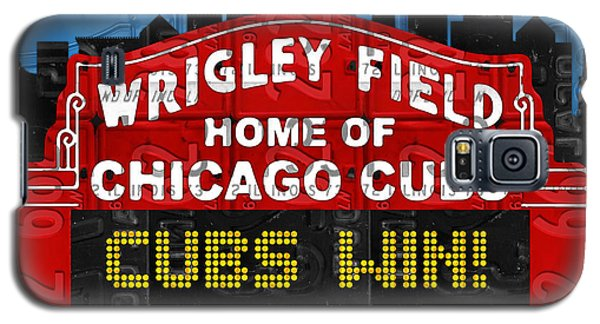 Cubs Win Wrigley Field Chicago Illinois Recycled Vintage License Plate Baseball Team Art Galaxy S5 Case by Design Turnpike