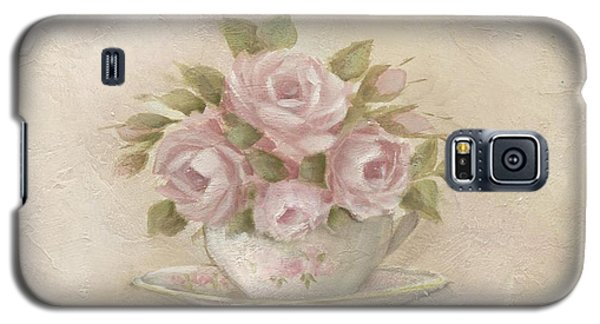 Galaxy S5 Case featuring the painting Cup And Saucer  Pink Roses by Chris Hobel