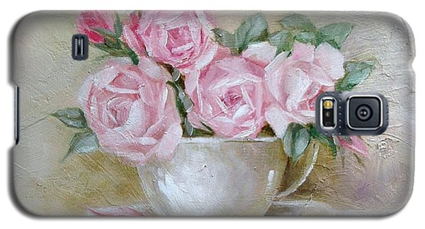 Galaxy S5 Case featuring the painting Cup And Saucer Roses by Chris Hobel