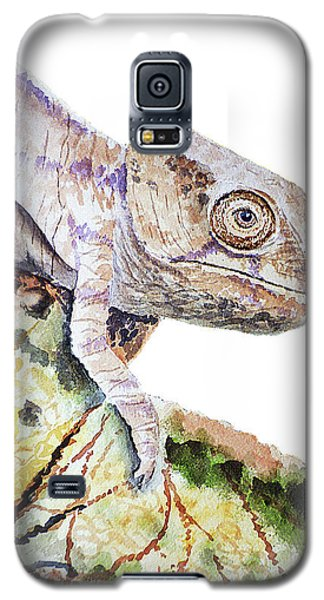 Galaxy S5 Case featuring the painting Curious Baby Chameleon by Irina Sztukowski