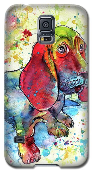 Galaxy S5 Case featuring the painting Cute Basset Hound by Kovacs Anna Brigitta