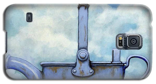 Galaxy S5 Case featuring the painting Cute Blue-tit Realistic Bird Portrait On Antique Watering Can by Linda Apple