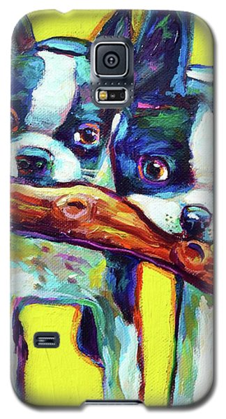Galaxy S5 Case featuring the painting Cute Boston Terriers by Robert Phelps