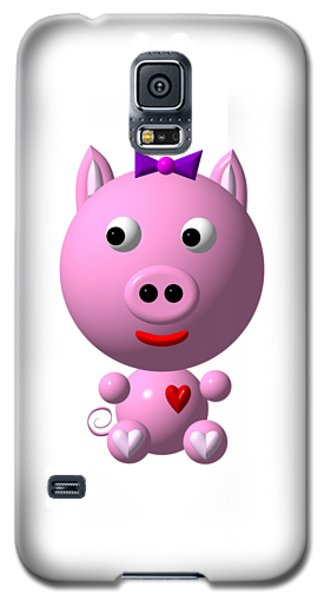 Cute Pink Pig With Purple Bow Galaxy S5 Case
