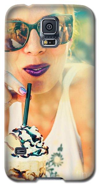 Ice Galaxy S5 Case - Cute Retro Girl Drinking Milkshake by Jorgo Photography - Wall Art Gallery